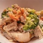 Broccoli Chicken Casserole I - Assembly time is minimal with this simple casserole combining chicken, cream of mushroom soup, cheddar cheese and broccoli. Dry stuffing mix is sprinkled over the top for a crunchy, flavorful topping.