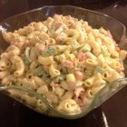 Simple Macaroni Salad - A crunchy melange of red and green bell peppers, green onions and crispy celery is tossed with macaroni and dressed with a tasty blend of olive oil and mayonnaise flavored with dry soup mix. Chill to finish this festive party salad.