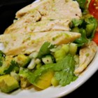 Easy Avocado Chicken Salad - Combine roasted chicken breast meat with avocado, scallions, lime juice, and cilantro to create this recipe for delicious avocado chicken salad.