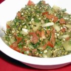 Sprouted Lentil Salad - A deliciously mildly spicy ethnic-inspired salad that's very healthy as well.  A nice crunchy twist on UNsprouted lentil salads.