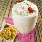 Fountain-Style Vanilla Malt Shake - Malt powder adds a little something to this old fashioned vanilla milkshake.