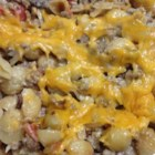 Cheeseburger Noodle Casserole - This is a very easy casserole using basic ingredients. It has been a big hit with my family. It's simple to make and consists of ground beef, spaghetti, tomatoes, and spices - all baked together and topped with cheese.