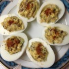 Shrimp and Bacon Deviled Eggs - These are truly elegant deviled eggs, with shrimp, bacon, and fresh herbs.