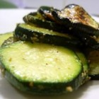 Lemon Pepper Zucchini - Sliced zucchini coated in butter and lemon pepper and baked.