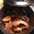Slow Roasted Rabbit - Rabbit is roasted in a spicy onion gravy. Great for dinner, served with rice and homemade bread.