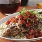 Bruschetta Chicken - All the flavors of bruschetta on top of juicy grilled chicken!