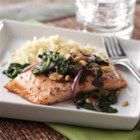 Honey Lemon Glazed Salmon with Spinach Saute - Full of fresh flavors.