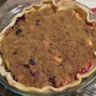 Dutch Apple Berry Pie - Blueberries, raspberries and apples find harmony in this delightful pie. Cinnamon, nutmeg, allspice, flour and brown sugar are sprinkled on top of the fruit, and the pie bakes within  30 minutes.