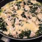 Chicken and Kale in Parmesan Cream Sauce - Chicken and kale in a creamy and cheesy sauce makes a great topping for pasta.