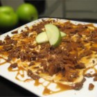 Heavenly 'Apple of My Thigh' Dessert - This dessert is SOOOO easy and delicious!!! All you need is 5 ingredients to make this! Cream cheese mixed with caramel then topped with toffee bar pieces and apples for dipping.. what is there not to love?
