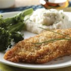 Crispy Panko Chicken Breasts - Use crushed, crisp rice cereal squares instead of panko crumbs for a gluten-free version!