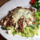 Italian-Style Zucchini Lasagna - This 'poor man's lasagna' uses ground beef, cottage cheese, mozzarella, and lots of veggies; the zucchini noodles make it low carb.
