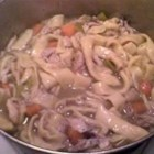 Chicken and Sliders - This recipe is an old French Canadian recipe which originated during the depression. It consists of tender pieces of chicken and homemade noodles swimming in a delicious gravy.  A real rib sticker and a favourite with my family during the winter.  Sounds harder than it is and it is absolutely delicious!