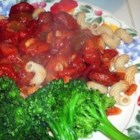 Kielbasa and Bow Ties - I came up with this recipe when I didn't have any beef in the house. Kielbasa simmered in a tomato sauce with bow ties. It's great served with rolls.