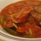 Tim's Sausage Stew - A satisfying sausage and tomato stew with tiny Acini di Pepe pasta and herbs.