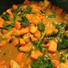 Paleo Chicken Stew - Adjust the chicken broth amounts to give this chicken stew with sweet potatoes and spinach the consistency you desire.