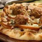 Caramelized Onion Meatballs Pizza with Apple & Gorgonzola - Pizza topped with al fresco® Caramelized Onion Chicken Meatballs, sliced apples and Gorgonzola crumbles is a quick and easy meal to prepare.