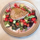 Grilled Tuna Salad -  First the tuna is marinated in a lovely rosemary/white wine/vinaigrette. Then it 's grilled, plied to crisp salad greens with cherry tomatoes, and drizzled with a bit more of the vinaigrette.