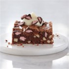 Chocolate Almond Brownies with Cherry Flavored Filled DelightFulls(TM) - There is something decadent about the flavors of dark chocolate and cherry. This rich brownie recipe, accentuated by notes of toasted almond, delivers on indulgence in every bite.