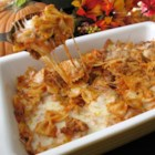 Bats and Cobwebs - Bow-tie pasta, and beefy pasta sauce is mixed with mozzarella cheese cubes and baked in the oven to make this spooky bats and cobwebs casserole.  The bow-tie pasta is the bats, and the stringy, gooey mozzarella cheese is the cobwebs!
