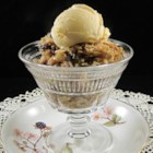 Apple and Dried Cranberry Crisp - Apple and dried cranberry crisp is a warm and comforting dessert to make for cold fall evenings; top with vanilla ice cream.