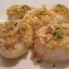 Awesome Baked Sea Scallops - Large sea scallops are combined with garlic, shallots, butter, and bread crumbs then baked to perfection. Being from Maine, we love our seafood, and this is one of the greats!