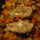 'Welcome Fall' Roasted Chicken and Butternut Squash - Chicken leg quarters are roasted with butternut squash, potatoes, and carrots with apple cider and pumpkin pie spice for a one-dish meal that tastes like fall.