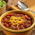 30-Minute Chili - Chunky chili made quickly with ground meat, beans, and two kinds of tomatoes for lots of flavor--perfect for a weeknight meal.