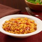 Easy Risotto with Squash and Bacon - A no-stir baked risotto recipe combines frozen pureed squash and tomatoes with rice and bacon for easy prep during the week.