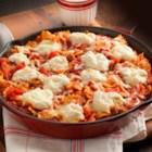 Hunt's(R) 'Classic' Skillet Lasagna - An easy lasagna recipe made in a skillet with bowtie pasta, Italian sausage, tomatoes and three kinds of cheese.