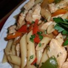 Chicken Penne Italiano - An Italian version of stir-fry, this tasty dish mixes cubed, boneless chicken and penne pasta with red and green peppers, garlic, tomatoes, oregano, and basil for an easy weeknight supper.
