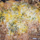 "Baked Spaghetti with Chicken - ""This is a wonderful chicken recipe that kids and adults love. To make ahead of time, leave off the cheese and refrigerate. Then bake for 20 minutes to heat, add the cheese and bake for 10 more minutes."""