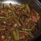 Best Green Beans - This recipe uses canned French cut green beans, combined with fresh bacon, mushrooms, and garlic for a tasty side dish.