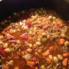 Vegetable Beef Minestrone - Beef, bacon and vegetables are delicious in this chick pea minestrone.