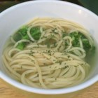 Broccoli Spaghetti Soup - Just broccoli, pasta, water, a spoonful of olive oil and a bit of salt and pepper go into this simple soup.