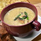 Guilt-Free Cream of Asparagus Soup - The creaminess comes from fat-free sour cream mashed with potatoes.