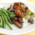 Mongolian Beef I - A simple but spicy dish with beef, carrots and green onions. Serve over rice for a very filling meal.