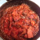 Sweet and Spicy Ham Steak - Chunky salsa is sweetened with apricot nectar and preserves to make a thick sauce for ham steak.
