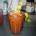 Bloody Mary Deluxe - Very, very, very SPICY!!! This recipe includes HORSERADISH... Along with other hot peppers and sauces! Weak tongues BE-WARE!!! Be creative with your garnishes and enjoy!