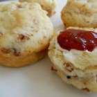 Biscuits - Homemade buttermilk biscuits with flecks of bacon are easy to prepare using 5 simple ingredients creating a tender and buttery treat.