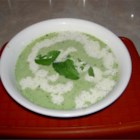 Green Pea and Mint Soup - This refreshing cold soup is a celebration of spring vegetables with a generous amount of green peas and fresh mint. It is very simple to make, and it looks beautiful when served.