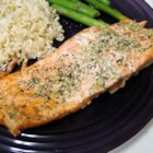 Garlic and Dill Salmon - Marinated in a paste of fresh dill, garlic, and olive oil, this baked salmon is wonderfully simple to prepare AND great eating.