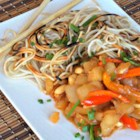 Crispy Chinese Noodles with Eggplant and Peanuts - Cubes of eggplant are cooked with garlic and red pepper until tender. Then the fun begins. Two different sauces are stirred in, and when mixed and fragrant, the eggplant is spooned onto plates and covered with a disk of crispy, pan fried noodles.