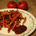 Bacon-Flavored Sweet Potato Fries - Bacon-flavored sweet potato fries coated in paprika and salt are a quick and easy snack or tasty side dish to any sandwich.