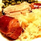Pork Roast with Sauerkraut and Kielbasa - This is the traditional New Year's Day meal I learned from my husband, whose family originated in central Pennsylvania. It's wonderful, especially served with mashed potatoes and applesauce.