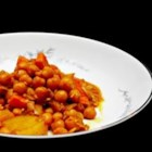 Chickpea Curry - Chickpeas are simmered in a fragrantly spiced curry sauce mixture and garnished with fresh cilantro.
