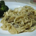 Chicken Tetrazzini IV - Chicken, mushrooms and spaghetti baked in a rich, creamy white sauce flavored with Parmesan cheese and sherry.