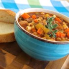 MeMe's Pasta Fagioli - Cannellini beans, ground beef, and ditalini are simmered in a vegetable juice-based broth creating pasta fagioli similar to the famous Italian restaurant chain.