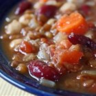 Moroccan Lentil Soup - This soup is deliciously spicy, completely vegetarian, has no cholesterol, and is high in protein and fiber.  It is brimming with vegetables, chick peas, white beans, and red lentils, and seasoned with cardamom, garam masala, cumin, and fresh ginger.