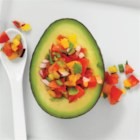 Avo Spoon Snack - Avocado halves in their shells topped with your favorite salsa or vinaigrette make a quick and delicious snack.